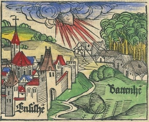 Ensisheim Meteorite    Over 500 years ago - on November 7, 1492 - a loud explosion preceded the arrival of a 127-kg stone meteorite in a wheat field near the village of Ensisheim in the province of Alsace, France, which at the time was part of Germany.    An old woodcut depicting the scene shows the fall. A young boy was the only eyewitness and he led the local populace to the field, where the meteorite lay in a hole a meter deep. After it was retrieved, the townsfolk,