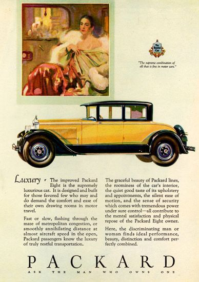 Packard Eight 4 Passenger Coupe 1927 | Mad Men Art | Vintage Ad Art Collection