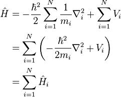 Begin Align Hat H Frac Hbar 2 2 Sum I 1 N Frac 1 M I Nabla I 2 Sum I 1 N V I Quantum Mechanics Physics Facts Physics And Mathematics