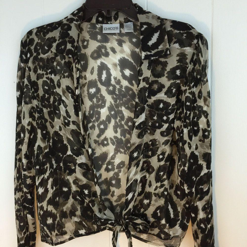 867c6d4c985fd0 Chicos 2 Top M L Silk Chiffon Animal Print Brown Beige Tie Front Blouse 12  14