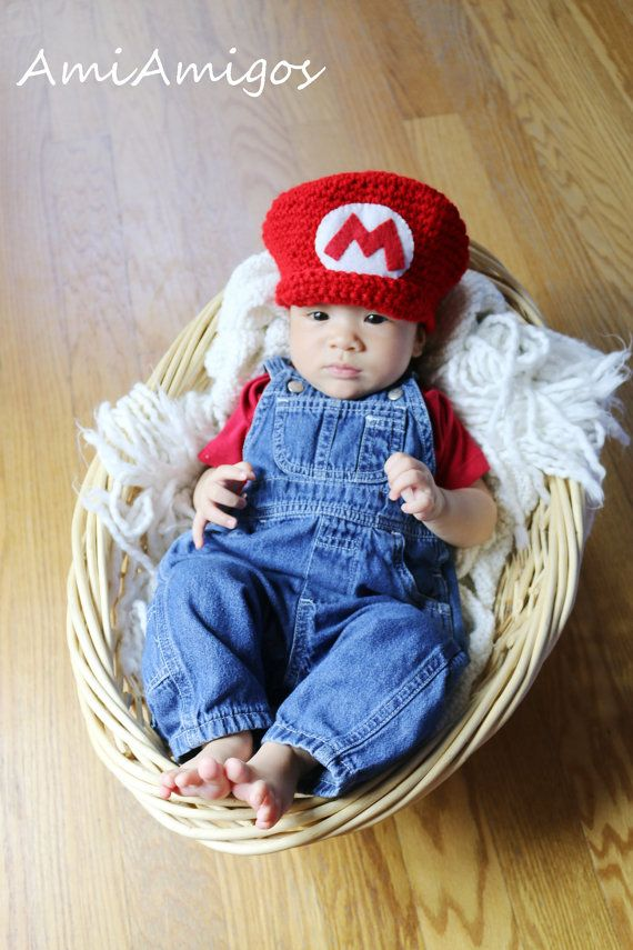 Crochet Super Mario Hat Newborn Sewing Crochet Knitting