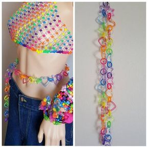 Rainbow kandi chain belt,star belt,heart belt,rain