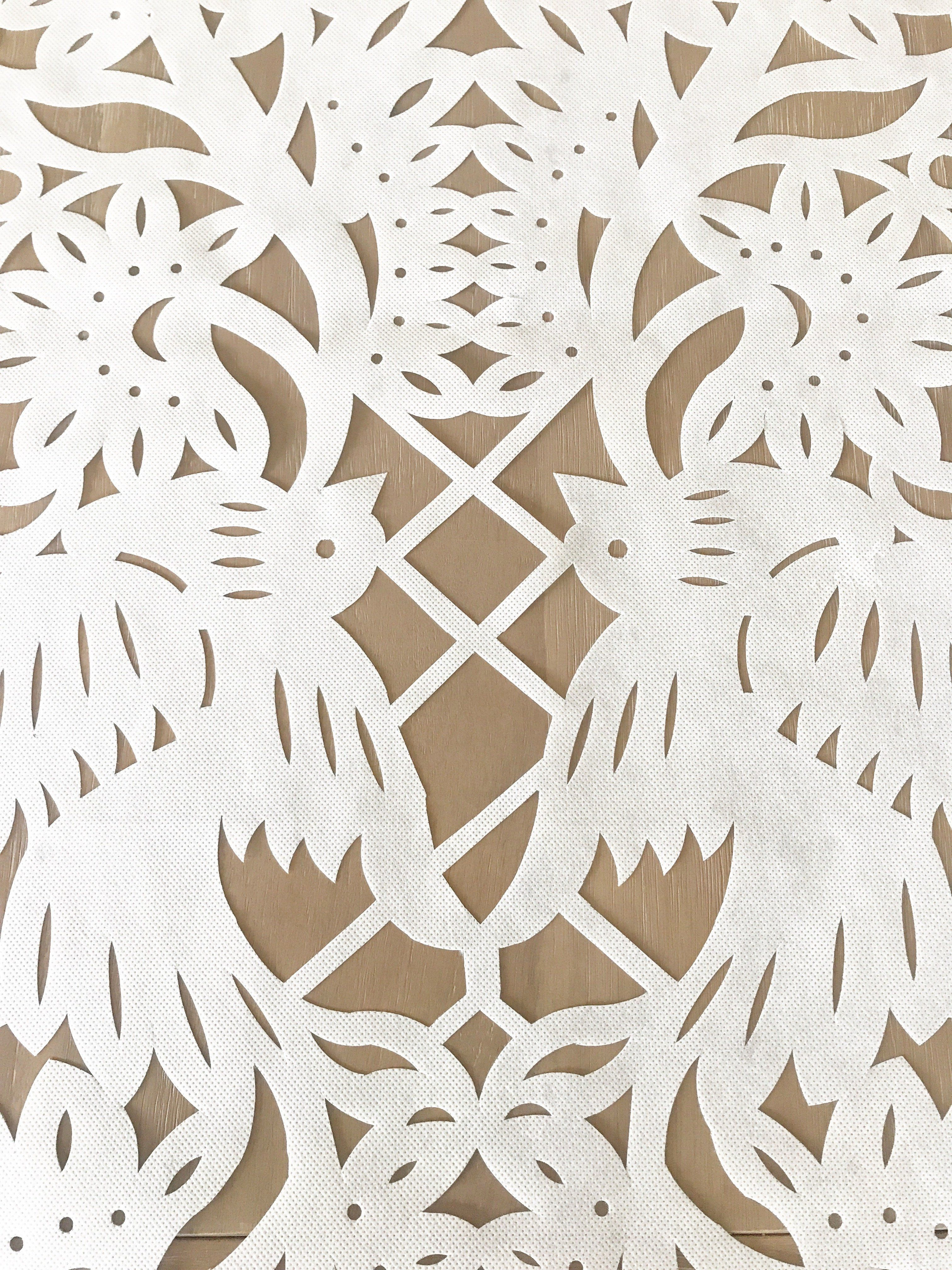 Wedding decor all white  Mexican Papel picado Table Runner in White synthetic Fabric