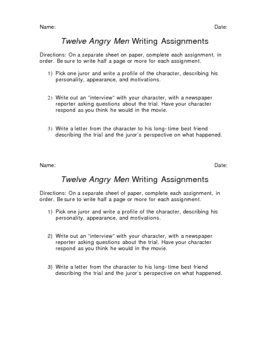 Includes 3 Writing Assignments Based On Twelve Angry Men Asks Students To Interview A Jur Writing Assignments Critical Thinking Activities Teaching Literature
