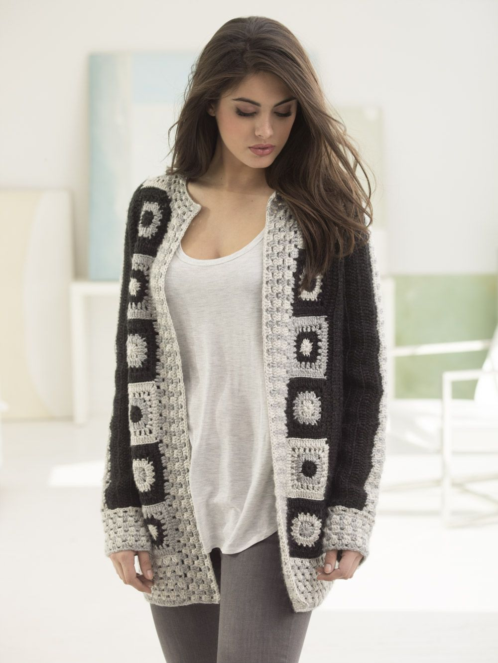 Make this trendy granny square statement cardigan with Lion Brand Heartland! Free crochet pattern calls for 11 - 15 balls of yarn (pictured in black canyon, mount rainier, and katmail) and a size I-9 crochet hook.