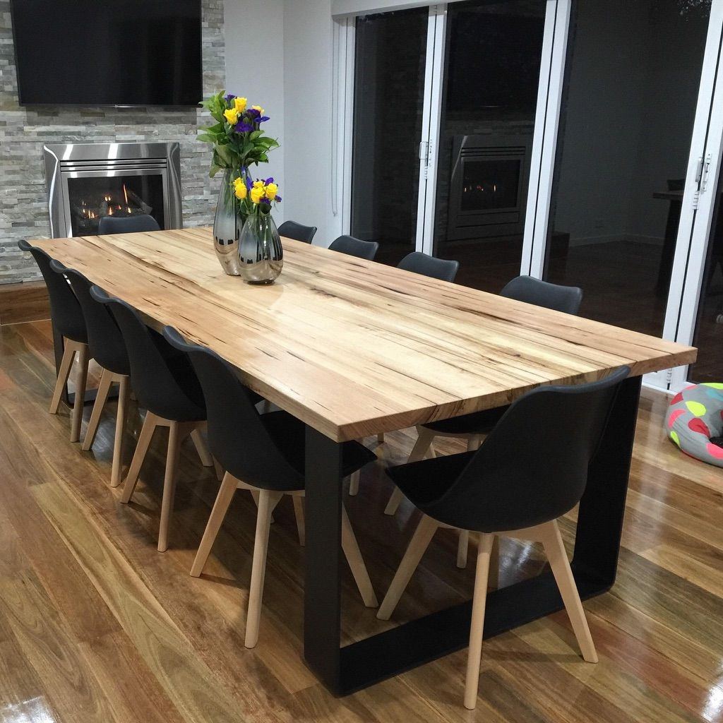 Dinning Table Hardwood Timber Top With Black Steel Legs To Fit