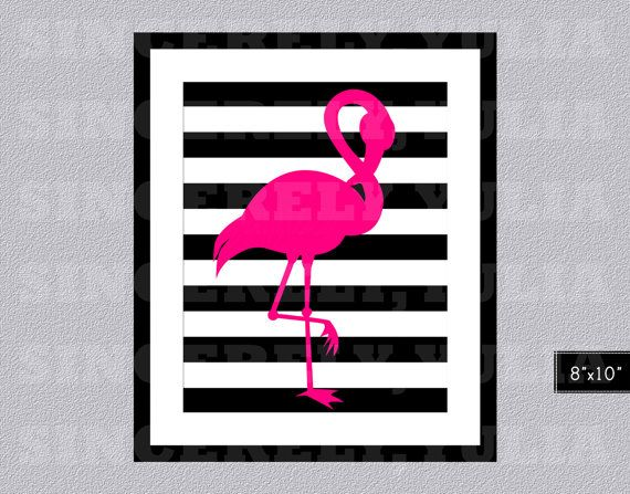 Pink flamingo black white stripes wall art by sincerelyyulia 5 00 purchased for toilet
