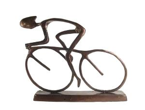 Contemporary MODERN CYCLIST Bicycle Sculpture Bike Metal Statue Art Bicyclist