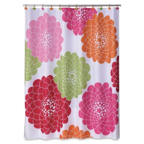 Allure Home Creations Stella Pink Printed On Poly Pique Shower Curtain By