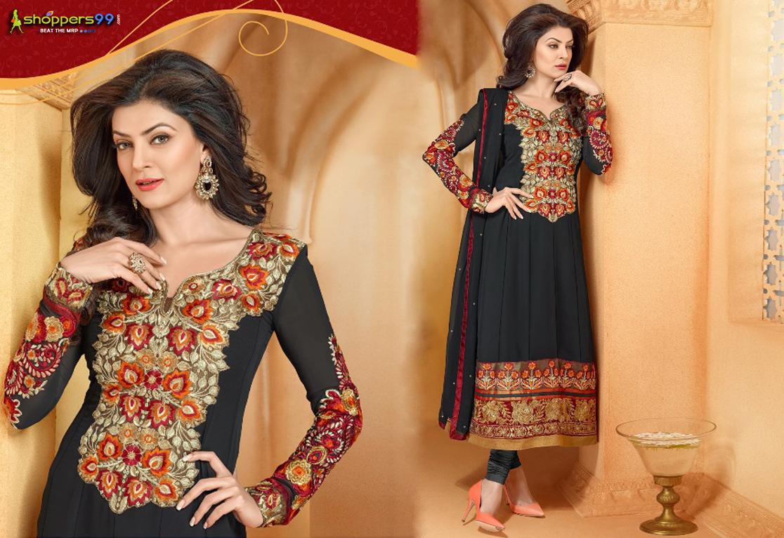Buy #Beautiful #SushmitaSen Black Long #AnarkaliSuit at extra discount prices. Free Shipping.  Shop Now: - http://www.shoppers99.com/sushmita_sen_designer_anarkali_suits/black_sushmita_sen_long_anarkali_suit_t-465-340