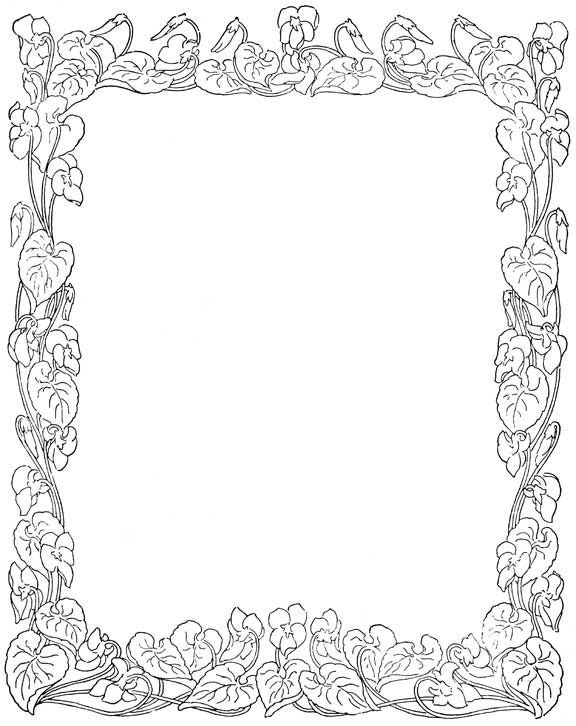 coloring pages flower borders - photo#8