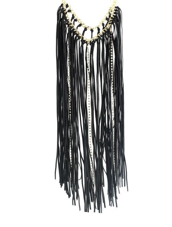 Selma Faux Leather Fringe Necklace