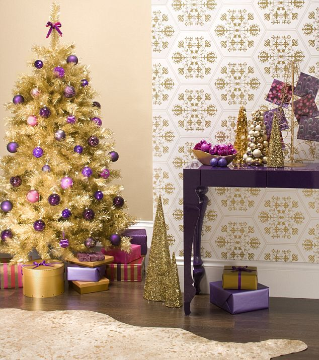 Christmas Tree Decorated With Purple And Gold – Home design and ...