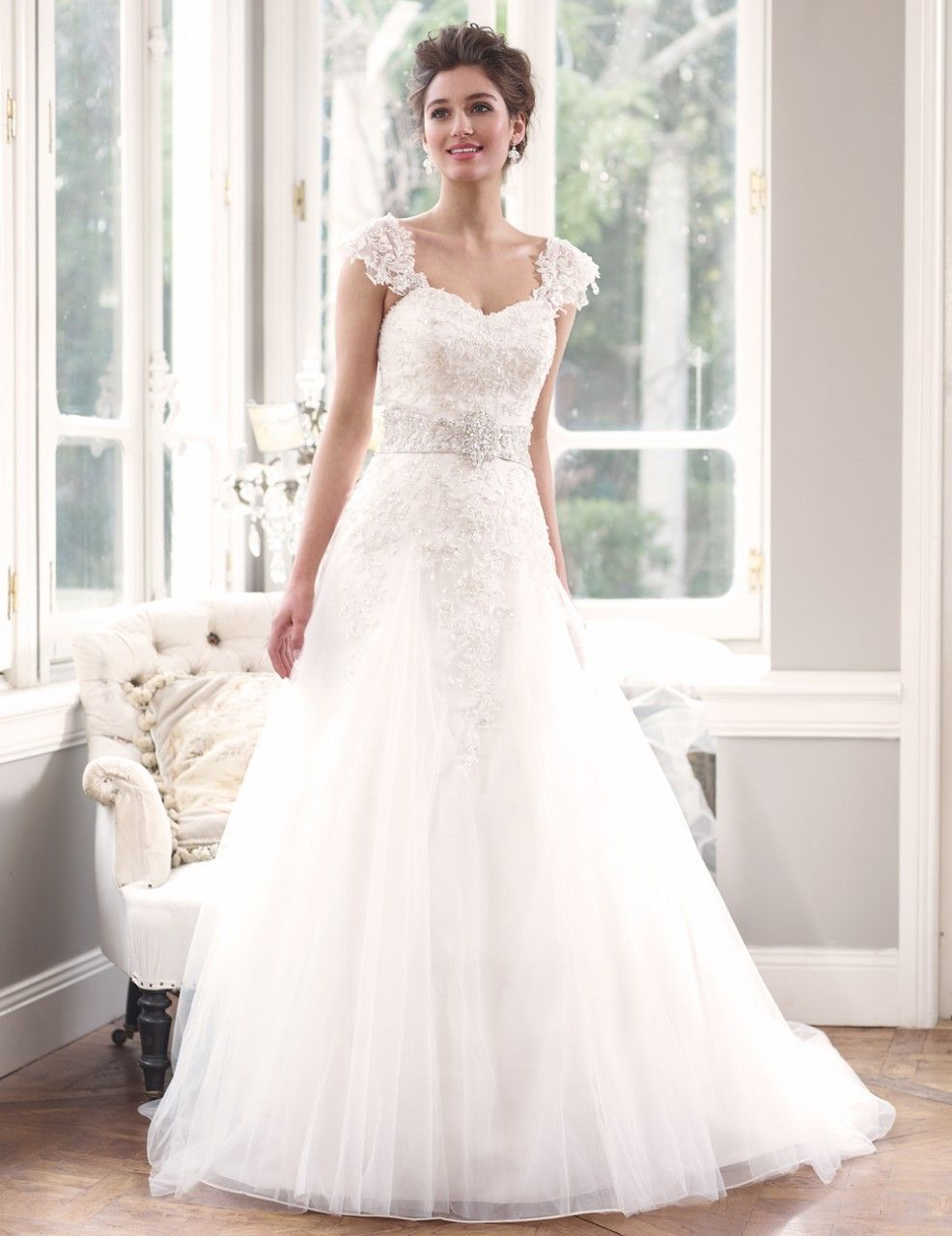Lace cap sleeve a line wedding dress  ML Delicate lace Wedding Dress with Detachable cap sleeves  Luv
