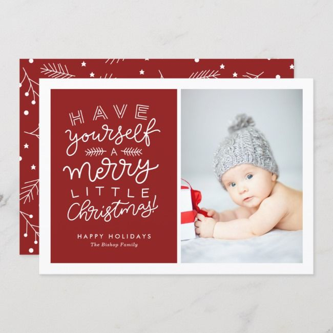 Have Yourself a Merry Little Christmas Script Red Holiday Card