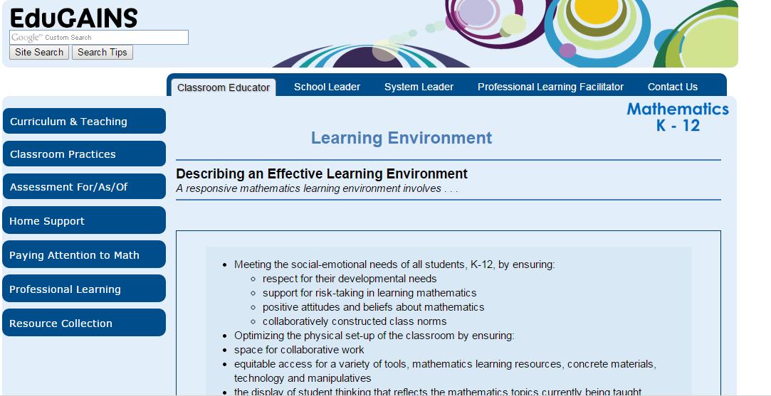 http://www.edugains.ca/newsite/math/learningenvironments.html ...