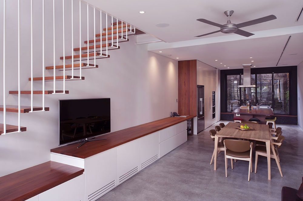 Living Room With Floating Stair Ideas Small House Design Small