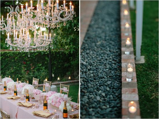 I love the floating candels on the ground for the backyard.