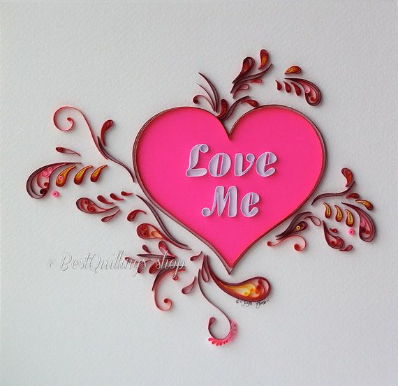 Quilling art love me handmade colourful heart paper art for Deco quilling