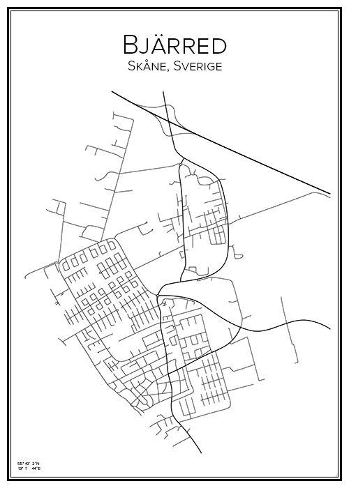 Bjarred Karta Skane.Bjarred City Prints Poster Map Och Chart