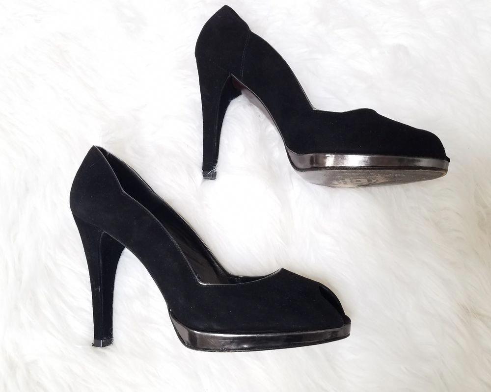 7cba787a72f6 STUART WEITZMAN Black Suede and Silver Heels Peep Toe Size 9 M Elegant  Scalloped  StuartWeitzman