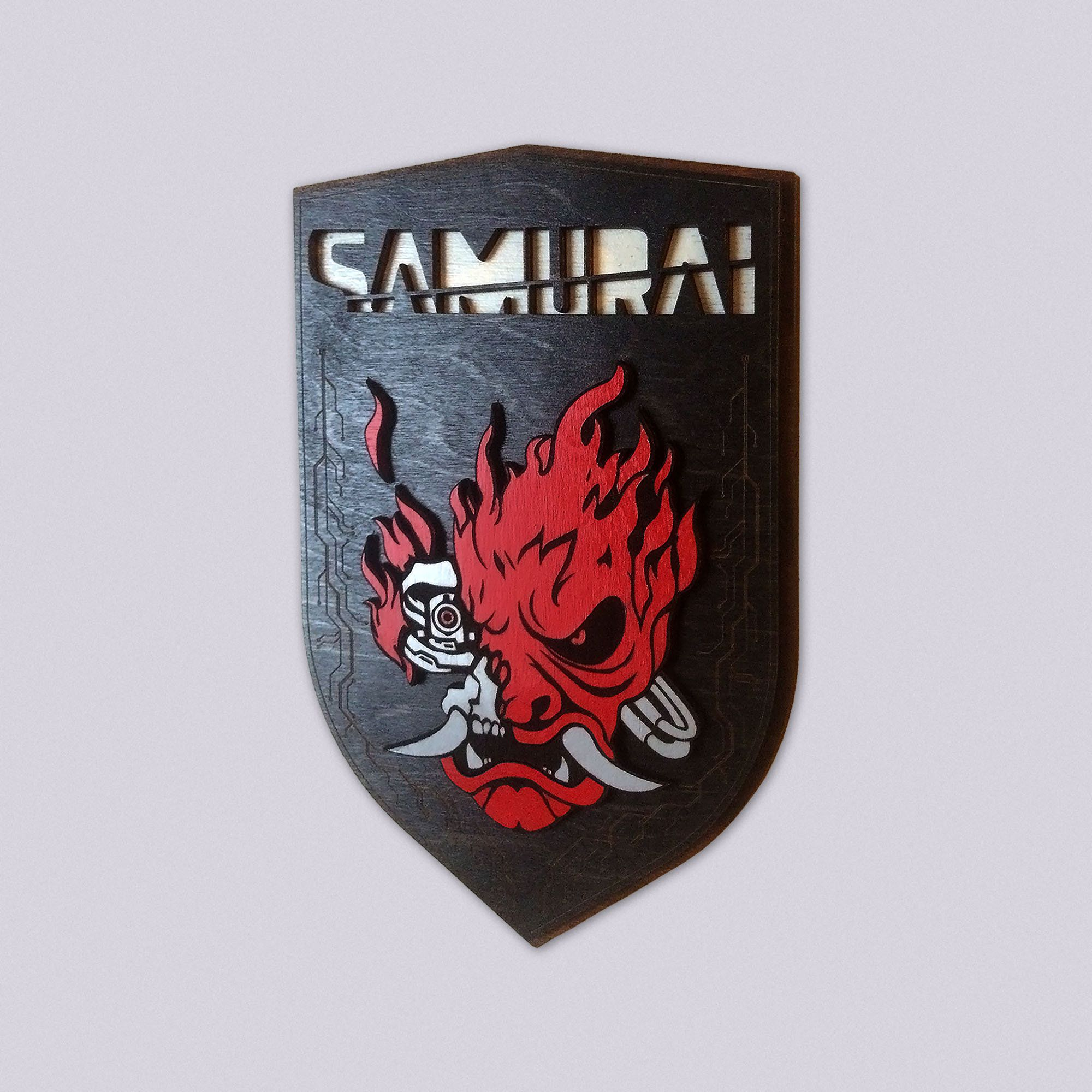 Cyberpunk 2077 Samurai Wall Art Shield Crest Of Oni Cyberdemon Geek Wall Decor By Gabelaser On Etsy Wall Art Cyberpunk 2077 Art