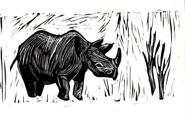 C Rhino On White Background Art Print Home Decor Wall Art Poster