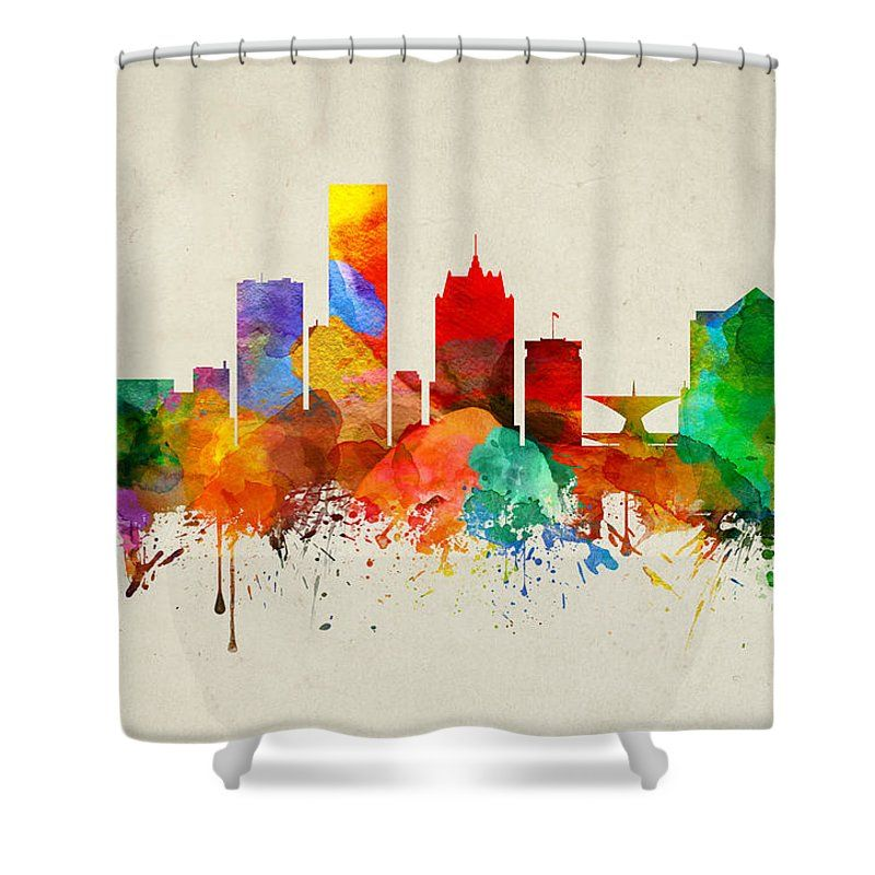 "Milwaukee Wisconsin Skyline 22 Shower Curtain by Aged Pixel.  This shower curtain is made from 100% polyester fabric and includes 12 holes at the top of the curtain for simple hanging.  The total dimensions of the shower curtain are 71"" wide x 74"" tall."