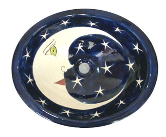 Custom Talavera Mexican Hand Painted Luna Sink Spanish Influence