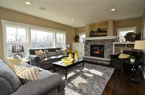 Wohnzimmer Farbgestaltung \u2013 Grau und Gelb - Wohnzimmer kamin fenster - wohnzimmer orange beige