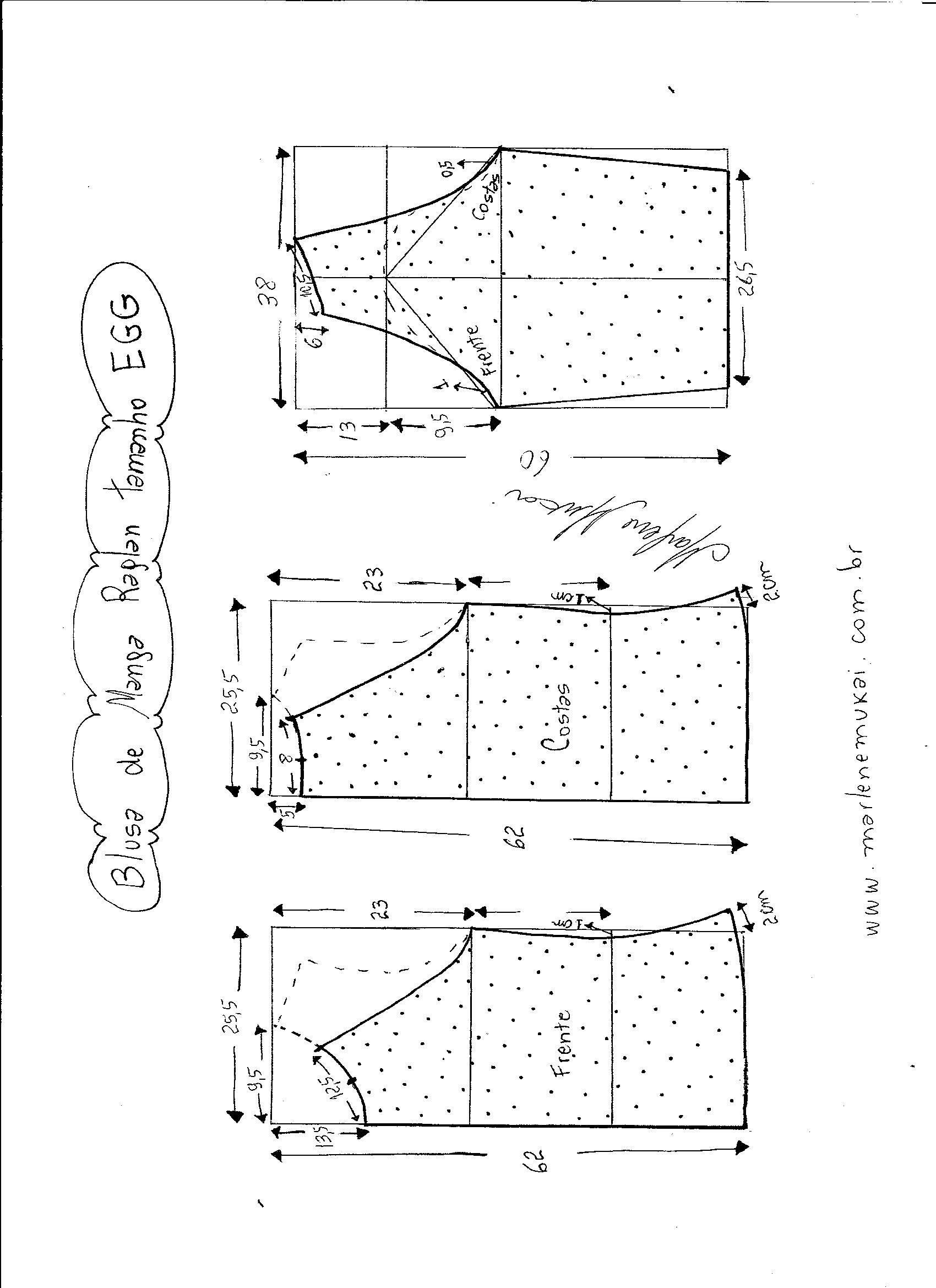 Blusa de malha com manga raglan | Molde, Costura y Patrones