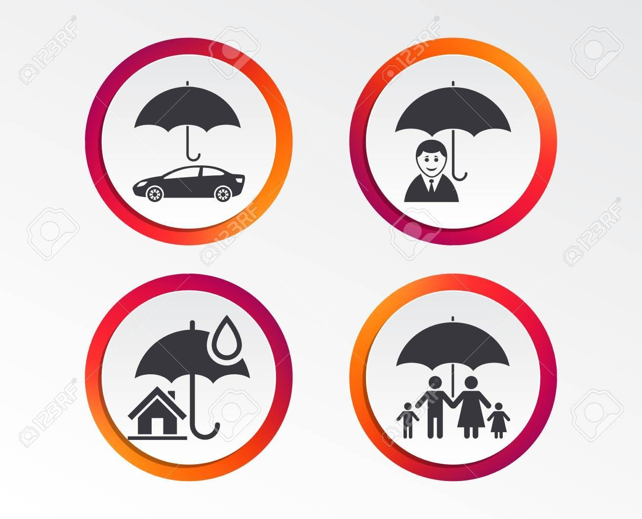 Family real estate or home insurance icons life