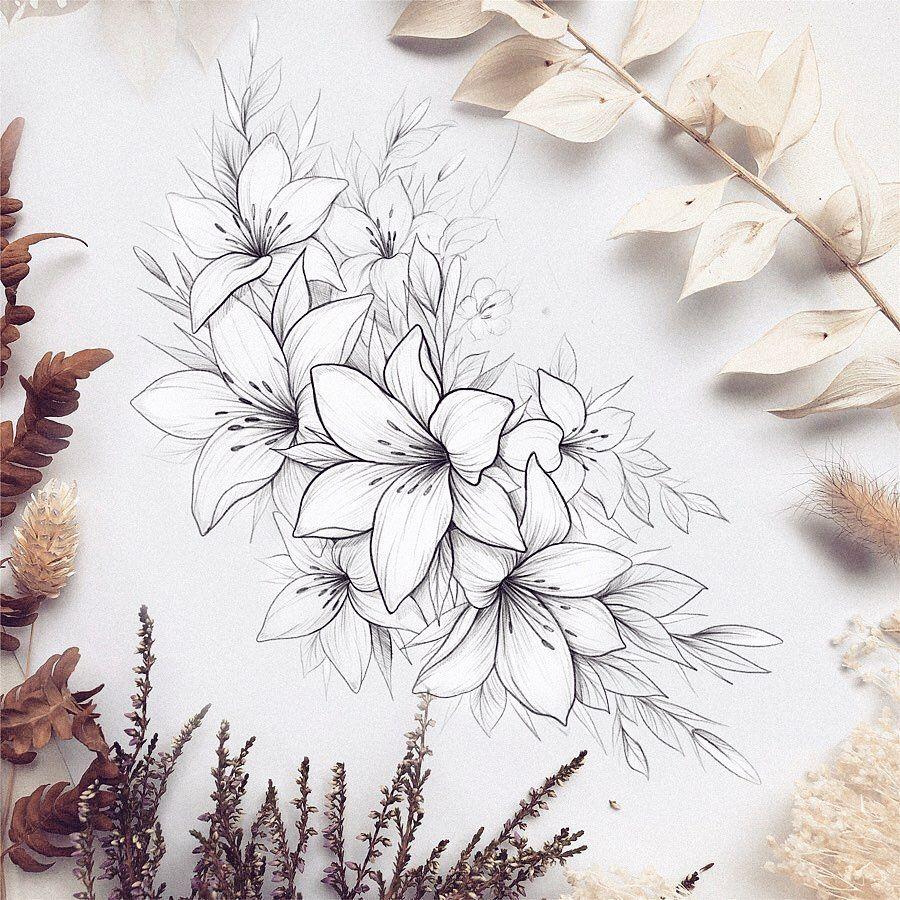 Черно белый эскиз тату с цветами: Эскиз лилии. Эскиз с цветами.Тату для тех, кто ценит