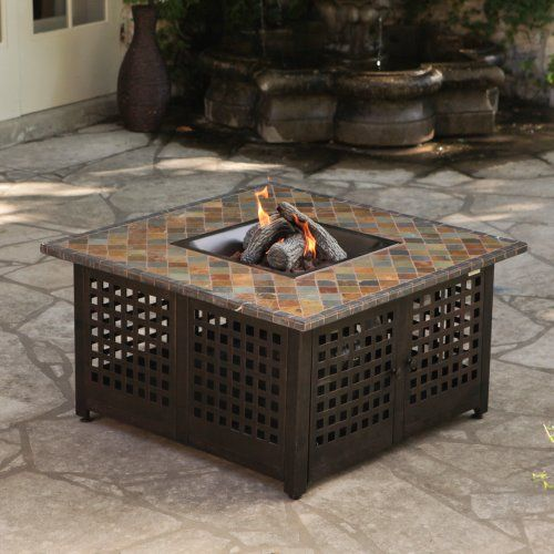 Uniflame Propane Gas Fire Pit With Handcrafted Tile Fire