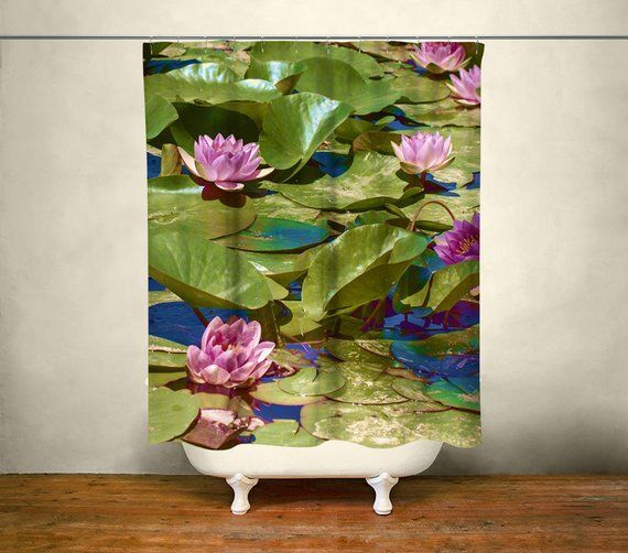 Lily Pads Shower Curtain, Zen Bathroom Decor, Buddha Decor, Floral Bathroom, Zen Theme Home, Yoga Decor, Shabby Chic Shower Curtains #buddhadecor