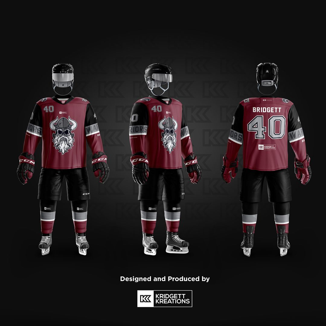 Warriors Ice Hockey Beer League Home And Away Uniform Design And Produced By Kridgettkreations Kridgettkreations Inline Hockey Hockey Uniforms Nhl Hockey