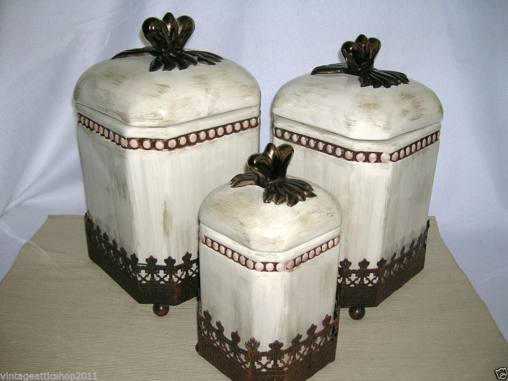 VHTF GODINGER Tuscan Cream Washed Metal Kitchen Canister Home Decor Set