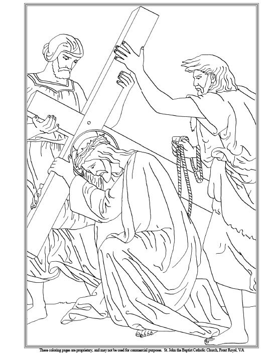 Third Station Of The Cross Coloring Page