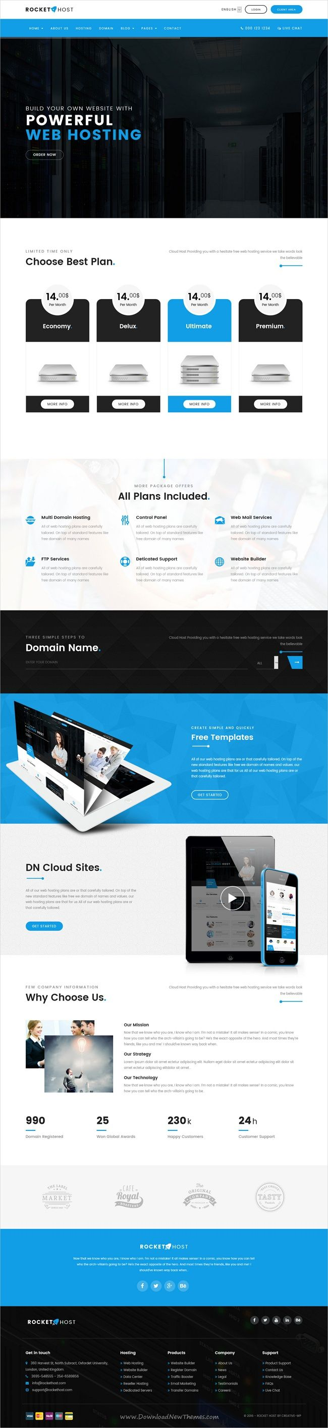 Rocket host is a wonderful 3in1 responsive #HTML #bootstrap template ...