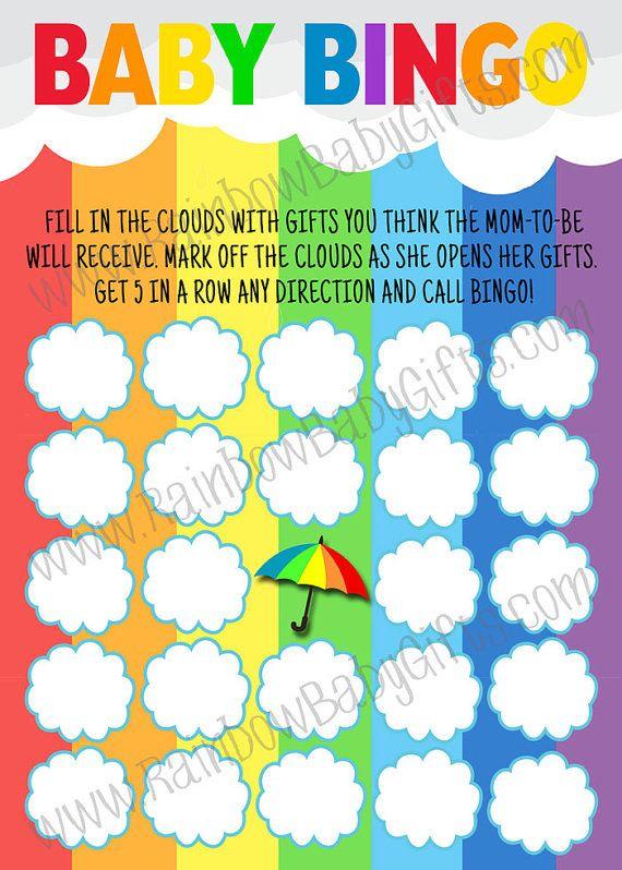 Baby Shower Bingo Rainbow Baby Shower Bingo Baby Bingo