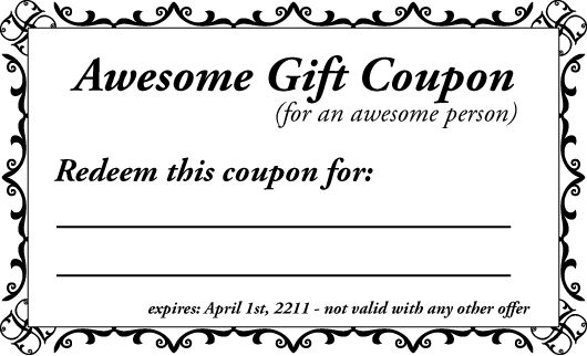 Printable Gift Coupon Templates - For Birthdays for any Occassion ...