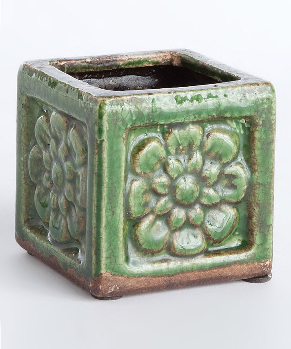 Love this Green Square Floral Pot by Napa Home & Garden on