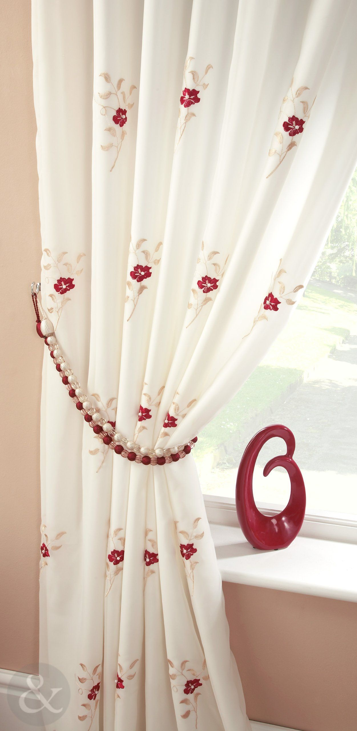 Living Room Ready Made Curtains Pearl Lined Voile Curtains Floral Embroidered Pencil Pleat Ready