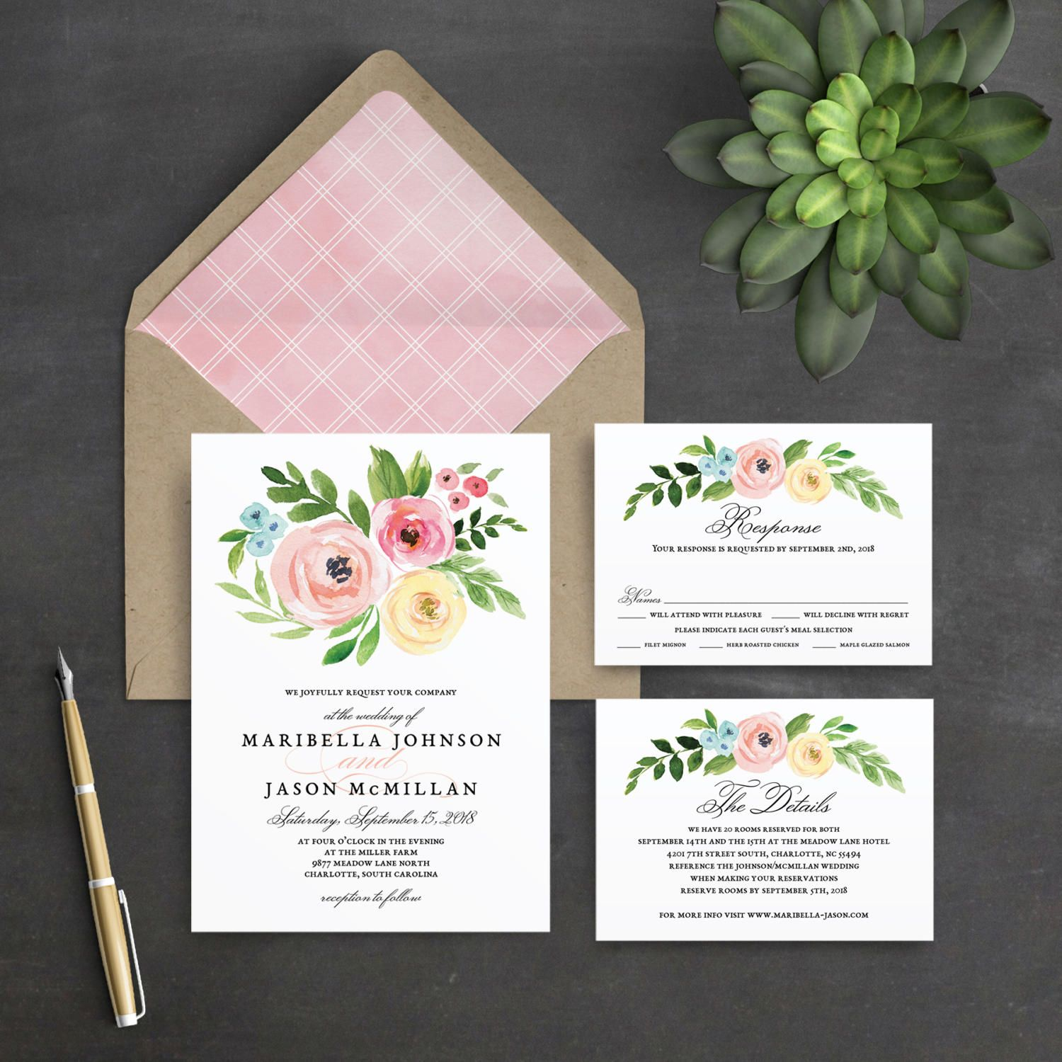 Printable Wedding Invitation Template Set, Floral Wedding In