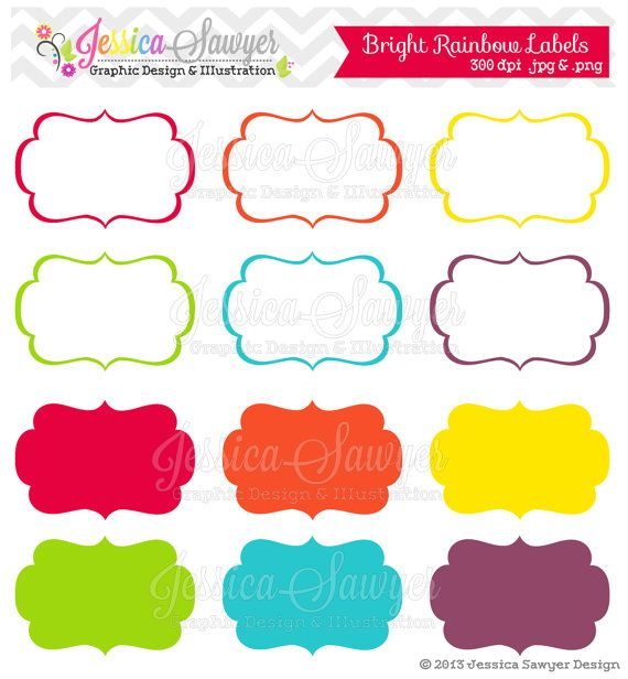 INSTANT DOWNLOAD, bright rainbow printable labels, rainbow ...