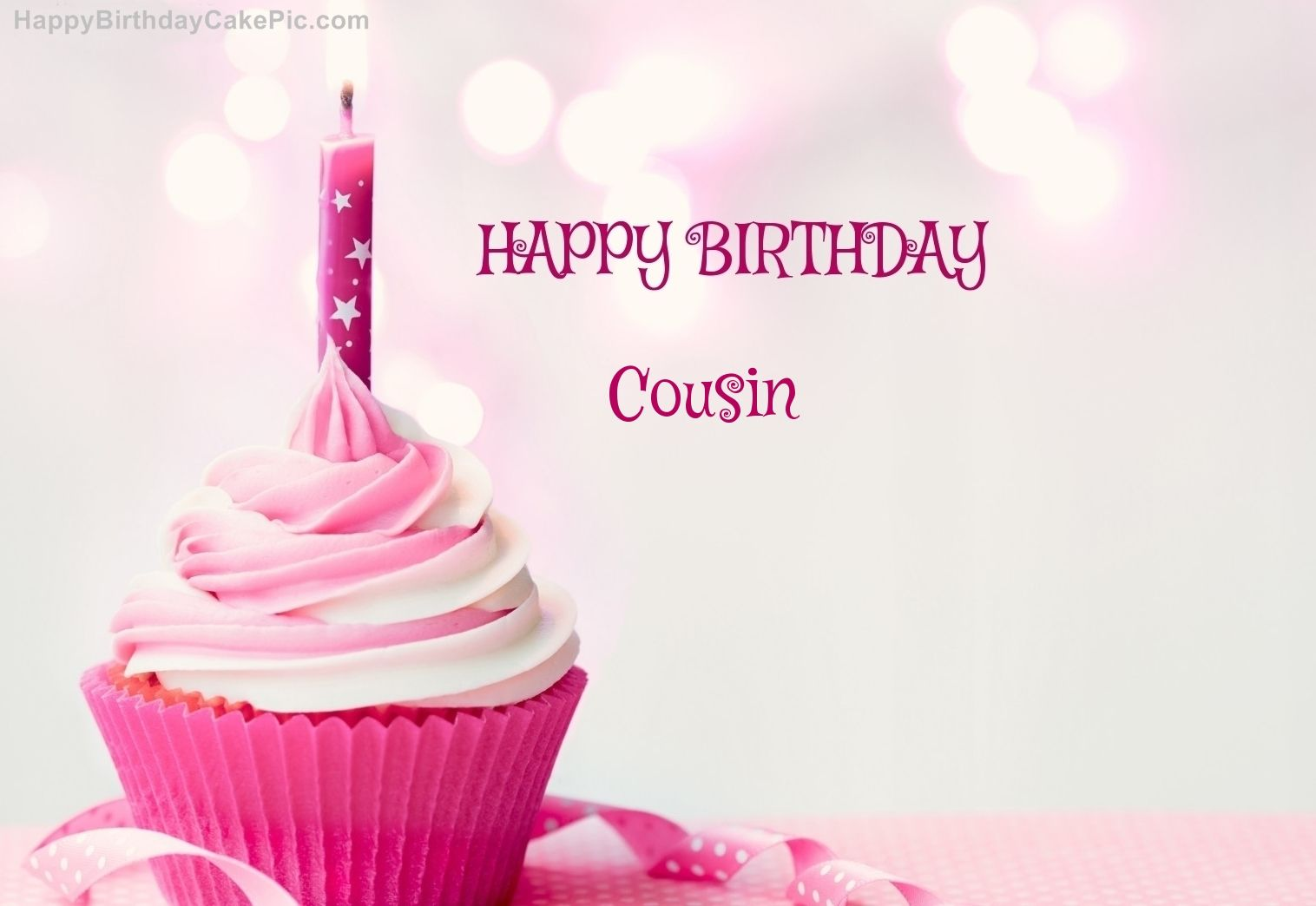 Outstanding Cousin Happy Birthday Happy Birthday Cupcake Candle Pink Cake For Funny Birthday Cards Online Aboleapandamsfinfo