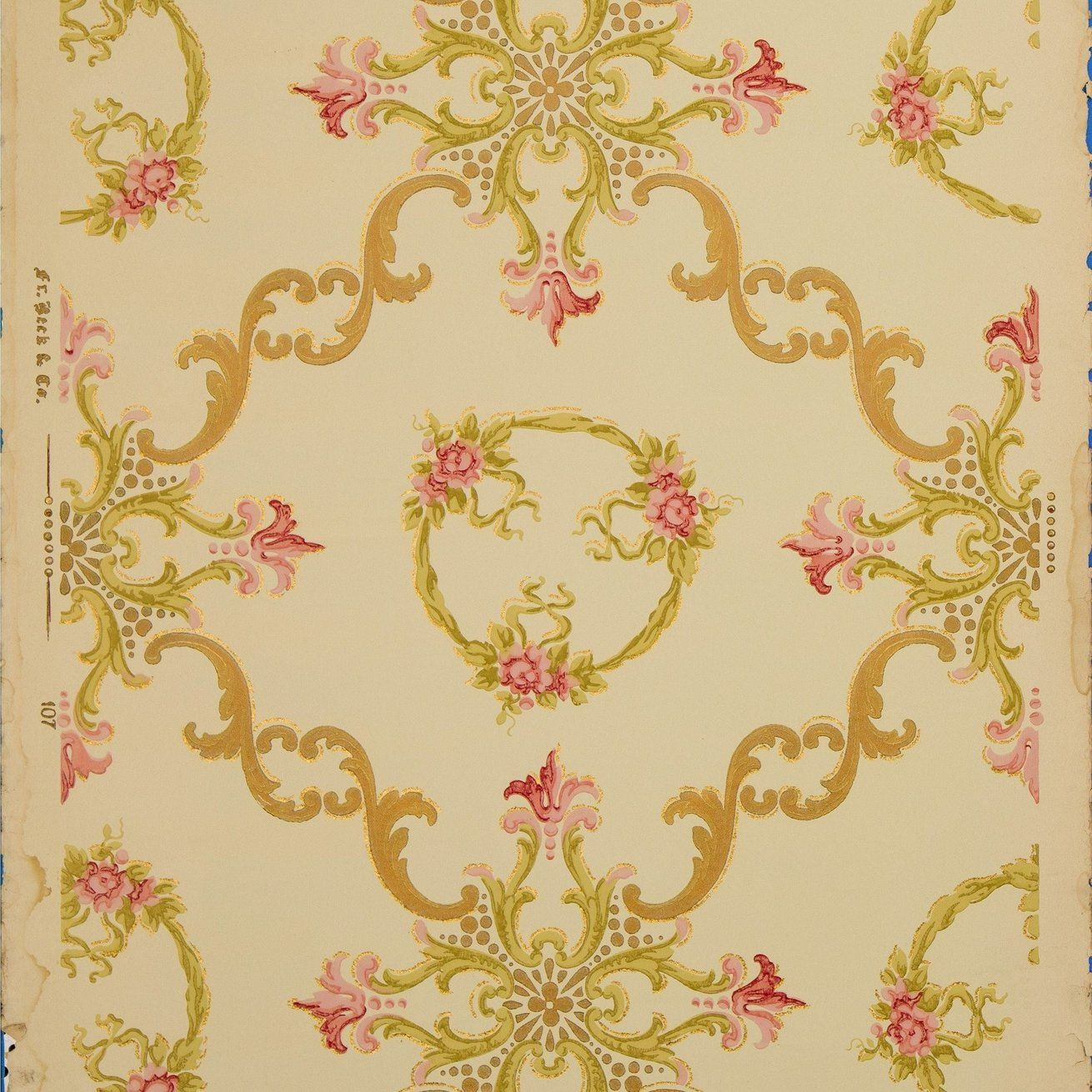 Scrolls Wreaths And Rose Clusters Antique Wallpaper Remnant Antique Wallpaper Original Wallpaper Wallpaper