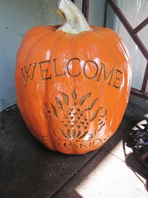 old pumpkin decoration made to look new with spray varnish