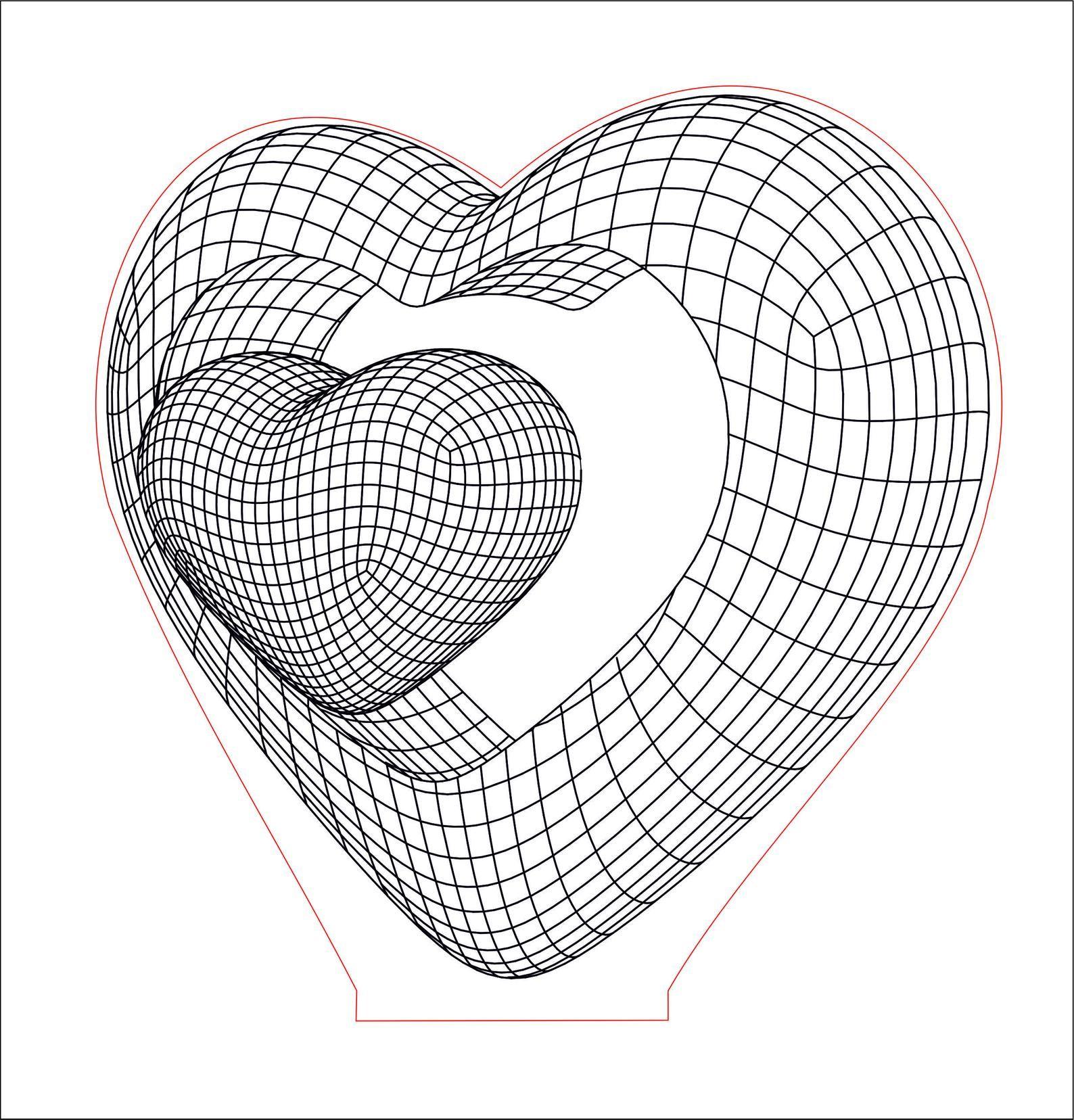 Double heart 3D Illusion acrylic LED lamp. Vector dxf cdr