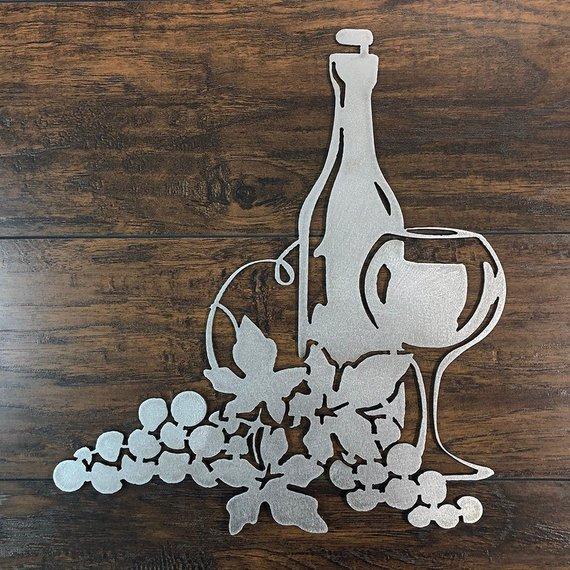 Wine Grapes Metal Wall Art Etsy In 2020 Metal Wall Art Etsy Wall Art Wine Art